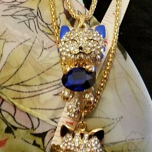 CN Coco Jewelry - Blue Crystal Kitty Necklace-Sparkly Bling